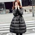 2016 Зима Новый Корейских Женщин Вниз Пальто Тонкий Пузырь Верхняя Одежда Твердые Линии Лук Длинный Жакет С Поясами