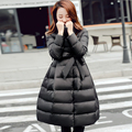 2016 Winter New Korean Women Down Coat Slim Bubble Outerwear Solid A-line Bow Long Jacket With Sashes