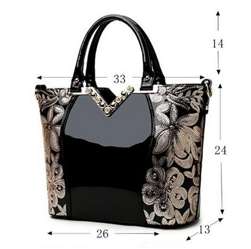 Women Patent Leather Handbags Luxury Sequin Embroidery Famous Brand Designer Diamond Shoulder Messenger bags Bolso Mujer
