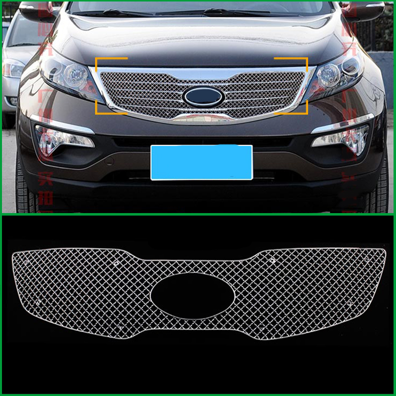 Car Styling Stainless Steel Front Bumper Honeycomb Grille For Kia Sportage R 2011 2012 2013 Center Grill Cover Trim Accessories