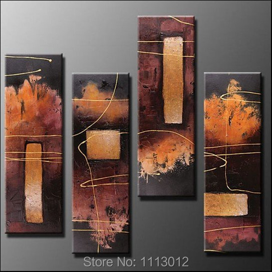 Горячее предложение чёрный; коричневый линии Пейзаж Дерево картина маслом на холсте Абстрактная 4 Панель Наборы для ухода за кожей дома сте...