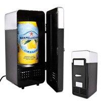 Новый 2 в 1 настольный мини-холодильник USB гаджет банки для напитков охладитель теплый холодильник с внутренним светодиодный легкий автомоб...