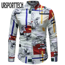 Men Hawaiian Shirt Long Sleeve Floral Print Mens Dress Formal Shirts Camisa Social Masculina Casual Slim Fit 5XL