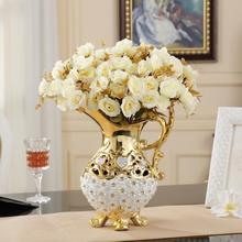 European Fashion Ceramic Vase Embedded Diamond Hollow Pierced Ceramic Vase Decoration For Living Room Table Wine TV ark