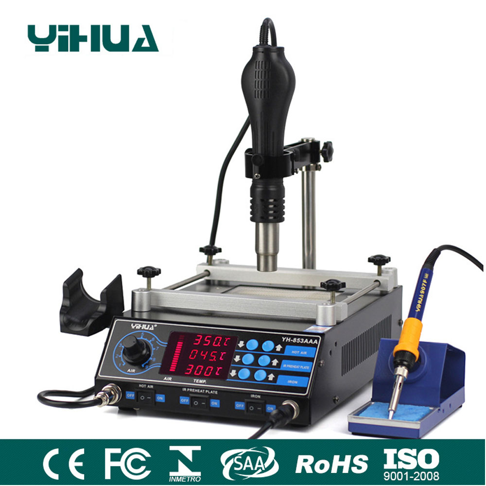 650W SMD Hot Air Gun+ 60W Soldering Irons +500W Preheating Station 3 Functions in 1 Bga Rework Station Yihua 853AAA yihua 1000b 3 functions in 1 infrared bga rework station smd hot air gun 75w soldering irons 540w preheating station 110v 220v