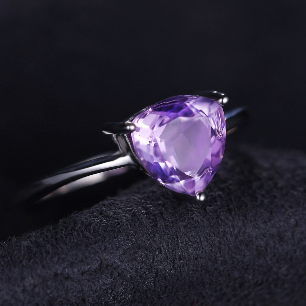 JewelryPalace Classic Charms Purple Amethysts Ring Solid 925 Sterling Silver Fashion Stone Engagement Ring For Women Jewelry