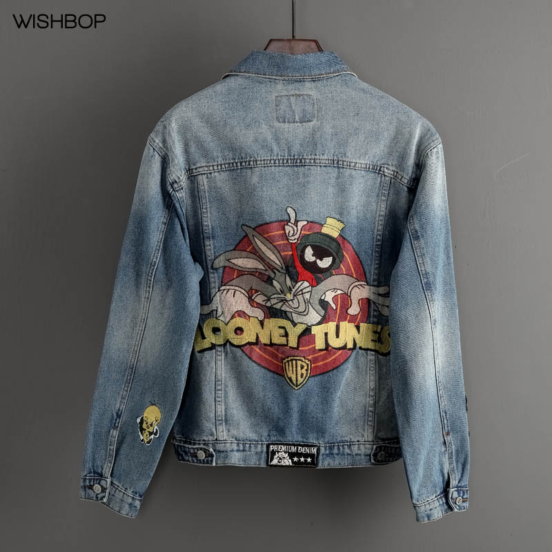 2018 Hot Fashion Woman Retro Washed Denim Jacket Rabbit Print Letters Embroidery Front Button up Long