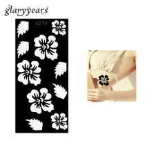 1 Piece Hollow Henna Tattoo Stencil Airbrush Painting Flower Leaf Henna Paste Drawing On Beauty Women Body Art Stencil Gift S279