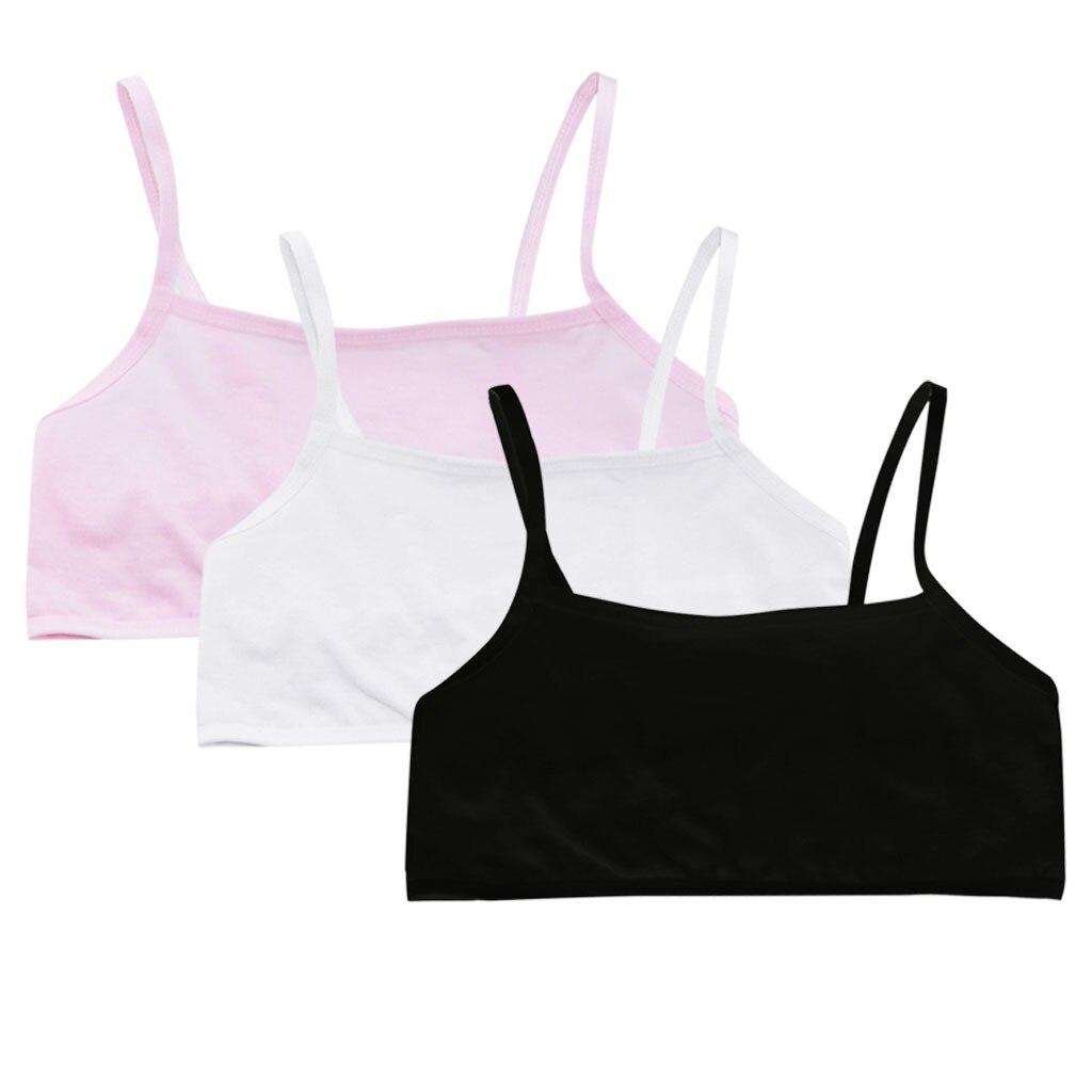 Puberty Girls Bra Breathable Sports Underwear Crop Top Soft Cotton Training Bra