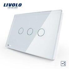 Livolo США/AU Стандартный 3 партия 2-полосная сенсорный Управление светильник переключатель переменного тока 110-250 V, белый, с украшением в виде кристаллов Стекло Панель, VL-C303S-81