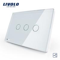 Free Shipping US AU Standard VL C303S 81 White Crystal Glass Panel 3 Gang 2 Way