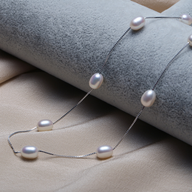 DAIMI Natural Pearl Necklace, Silver Chain Tin Cup Necklace, Choker for Women, Casual Style Evening Jewelry, Holiday Jewelry