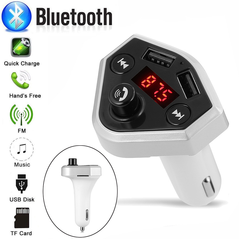 Bluetooth Car FM Transmitter Noise Cancellation Led Wireless Radio Adapter USB Charger Mp3 Player Hands Free Calling Radio FM-трансмиттер