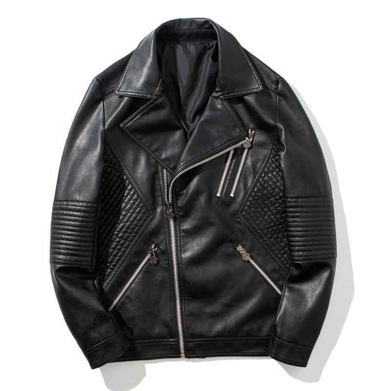 Men's Wear The Spring And Autumn Period And The Leather Lapels Men Handsome Motorcycle Thin Man Leisure Pu Leather Men's Jacket