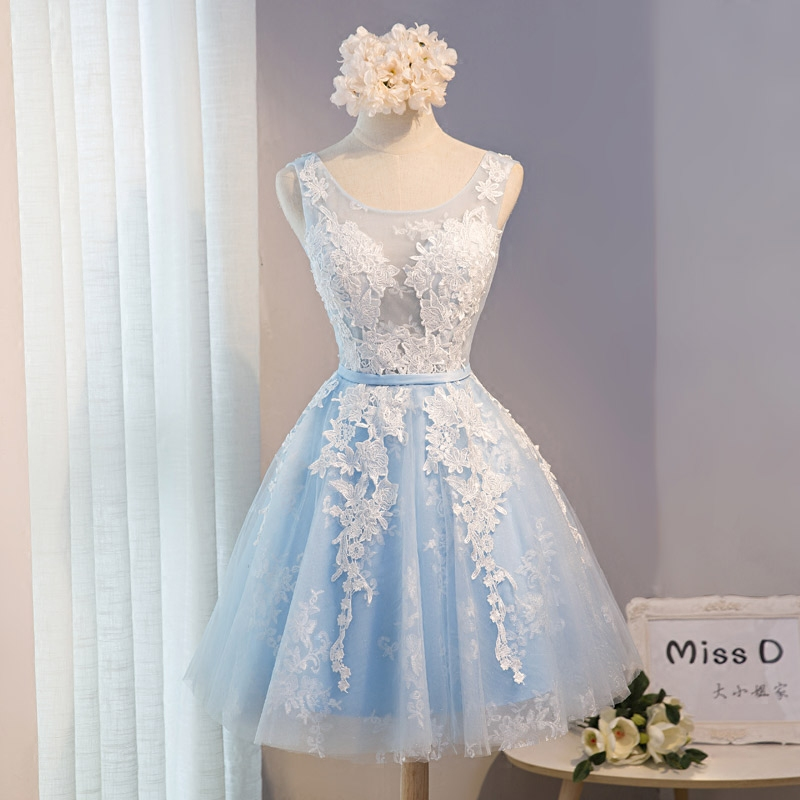 aa6cf84cdd Elegant Simple Scoop Neck Short Prom Dress Sleeveless Lace Appliques Light  Blue Lace up Back Homecoming Gowns -in Prom Dresses from Weddings   Events  on ...