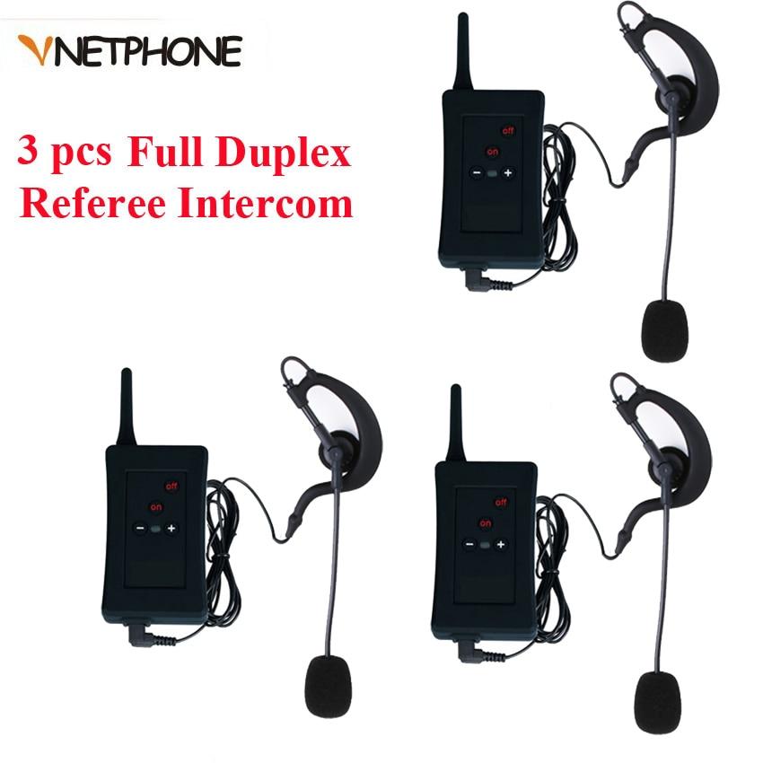 Referee Headset Motorcycle Intercom Soccer Full Duplex Vnetphone Football Bluetooth 3pcs