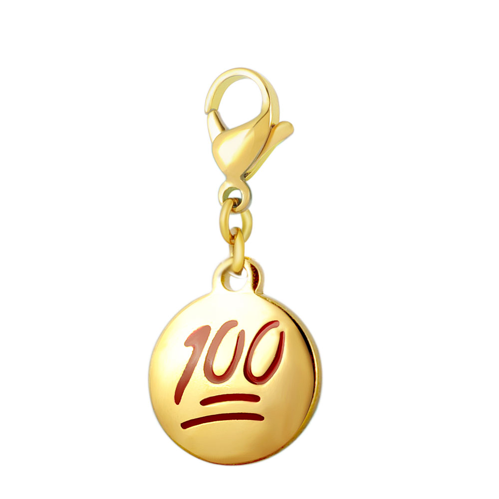 10pcs/Lot 316L Stainless Steel Charms Accessories Gold Color DIY Emoticon Charm 100 One Hundred Emoji Charm for Jewelry Making