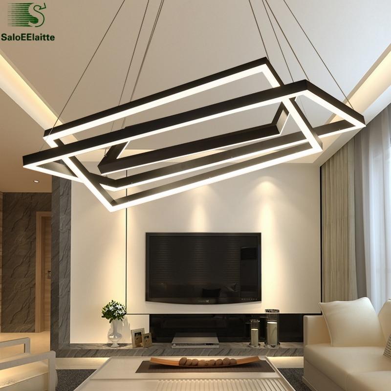 Modern Led Pendant Lamps Living Room Acrylic Fixture: Modern Frame Metal Led Pendant Lights Acrylic Mask Living