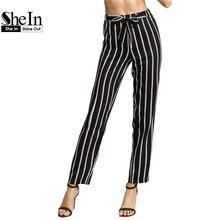 SheIn Women's Pants With Pockets Womens Work Wear Trousers Ladies Black Vertical Striped Self Tie Drawstring Waist Pants