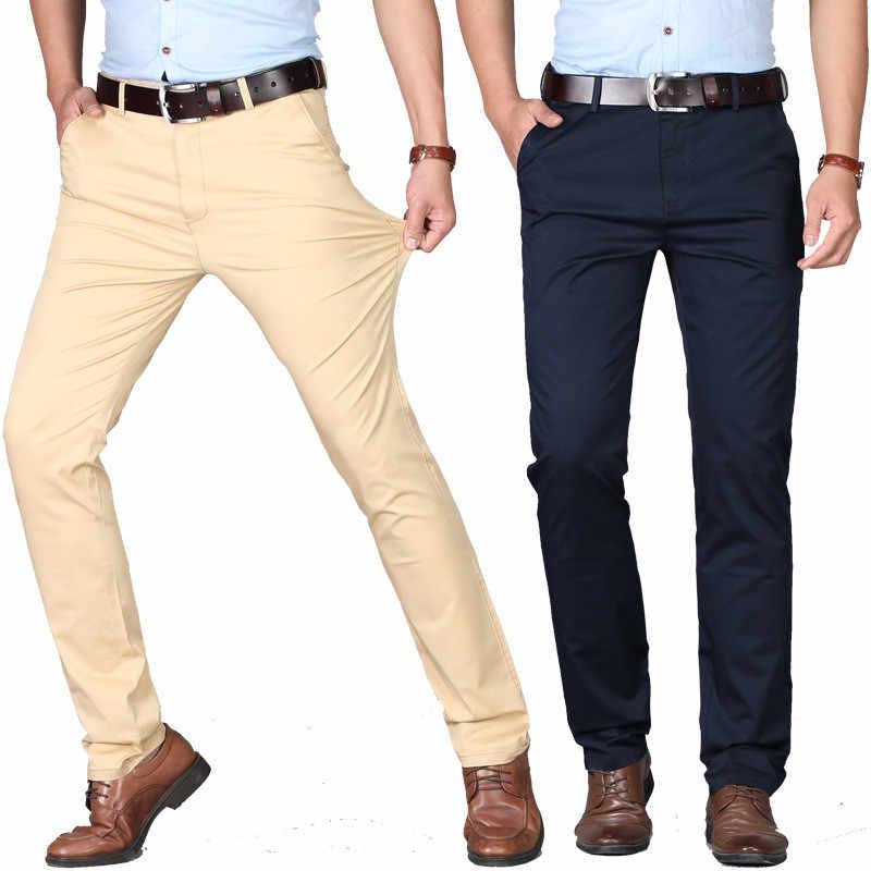 Pantalones Casuales Para Hombres 2020 Nuevos Pantalones Casuales De Verano Para Hombres Moda Coreana Pantalones Delgados Rectos Delgados De Algodon Delgados Para Hombres Mas Tamano 29 Pantalones Informales Aliexpress