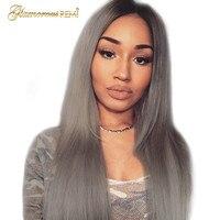 1B серый Малайзия Прямо человеческих волос парики Ombre Синтетические волосы на кружеве парики с ребенком волос человеческих Волосы remy натура