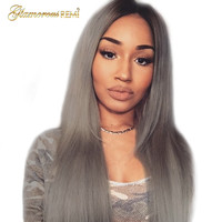 1B grey Malaysia Straight Human Hair Wigs Ombre Lace Front Wigs With Baby Hair human Remy Hair Natural Hairline Pre Plucked Wig