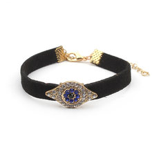 New Style crystal paved evil eye hamsa alloy charm black leather bracelet religious bracelet(China)
