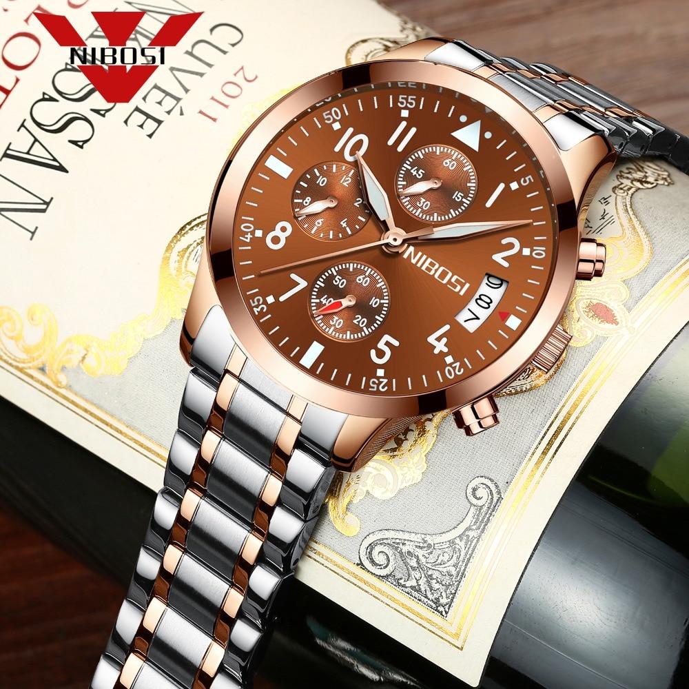 NIBOSI Men's Watches Classic Luxury Fashion  Quartz Chronograph Watch Men In Full Steel Waterproof Clock Relogio Masculino