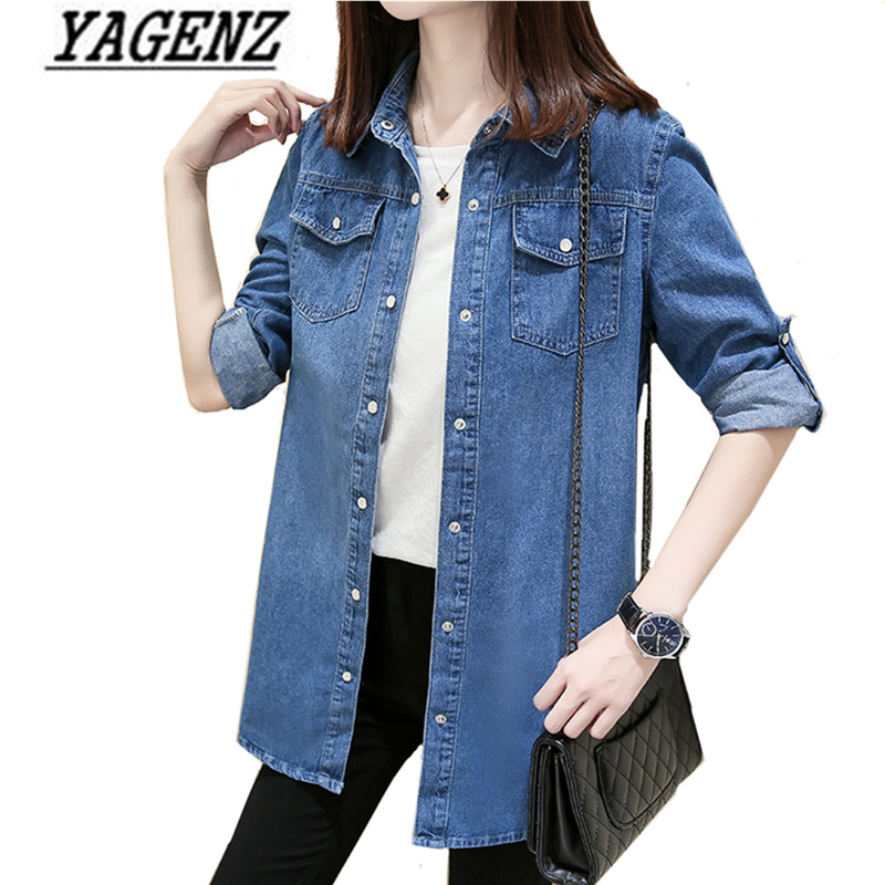 New Spring Women's Denim   Jackets   Single-Breasted Loose Vintage Jeans   Jacket   Casual Lady Long Sleeve   Basic   Coat Student Outerwear