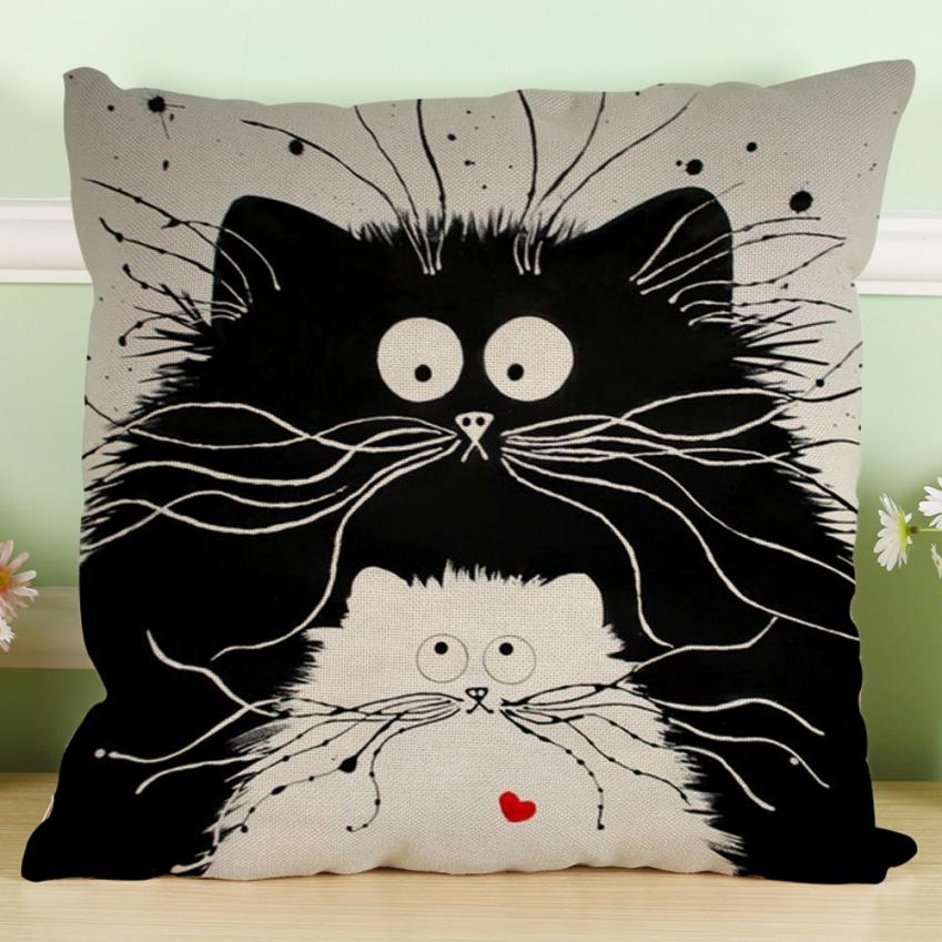 MUQGEW Cute Pillow Waist-Throw-Cushion Sofa Car-Decor Vintage Black White Cotton Home