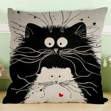 MUQGEW Vintage white and black Cat Dog Cotton cute Pillow Sofa Waist Throw Cushion Home Car Decor(China)