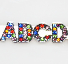 Free Shipping, 130pcs 8mm Mixed Color Rhinestone A Z Slide Letters, Slide Charms, Slide Beads DIY 8mm Wristbands, Keychains