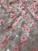 Latest High Quality African heavy beads Tulle Lace Fabric 2018 Embroidered Lace Dress Nigerian Lace Fabrics
