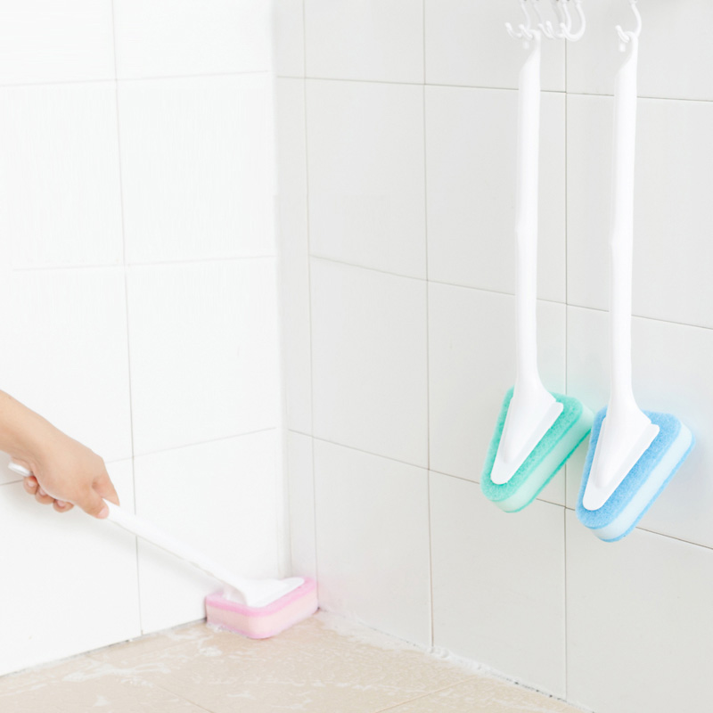 Long Handled Sponge Brush Bathroom Floor Tile Brush Toilet Cleaning - Bathroom tiles cleaning products