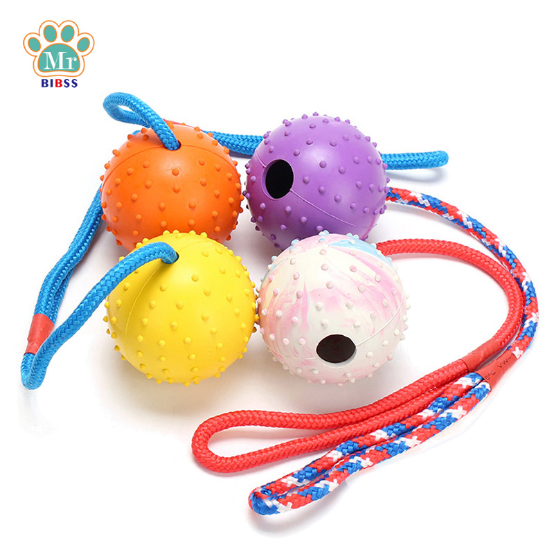 Candy Color Ball for Small Dogs Nylon Rope Handle Dog Chewing Toy Interactive Fetching Game Pet Supplies Rubber Non-toxic
