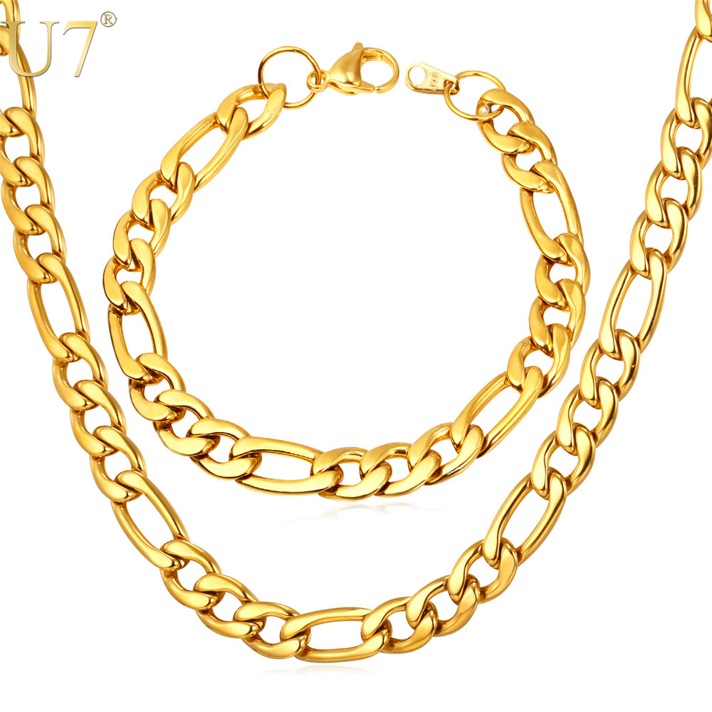 U7 Chunky Stainless Steel Chain Necklace Set 9 MM Thick Figaro Chain Necklace And Bracelet Fashion Jewelry Sets Men Jewelry S780