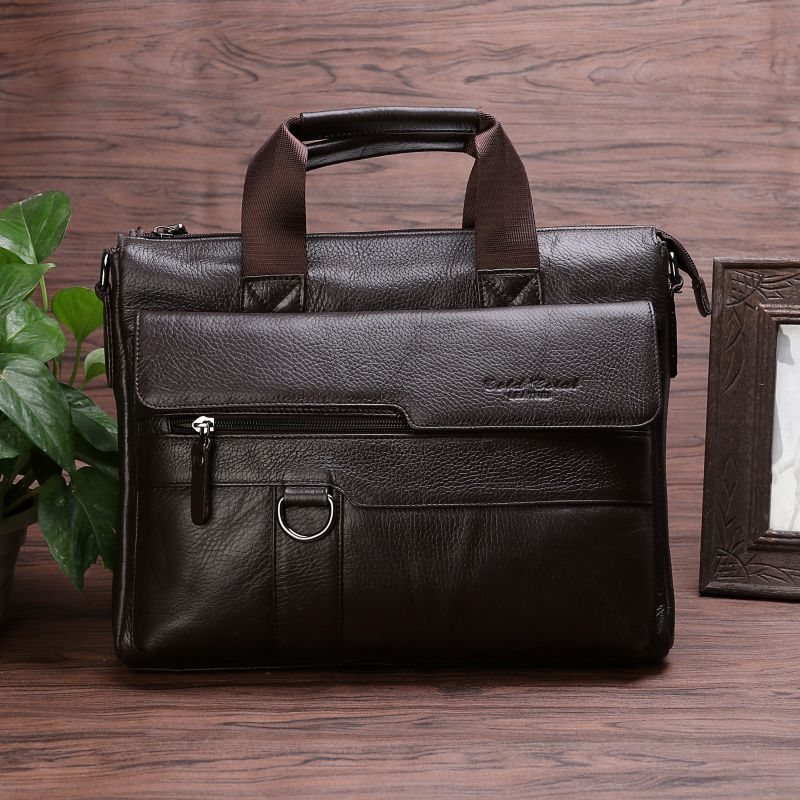 GOLD CORAL Genuine Leather Men Bag Briefcases male business Computer Laptop Bags Crossbody Bags Messenger Bag