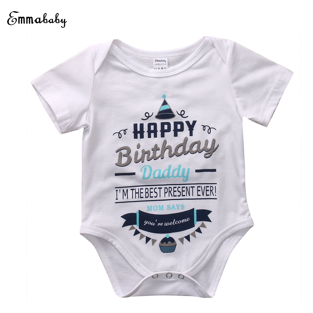 Newborn Infant Baby Boy Girl Rompers Short Sleeve Jumpsuit Happy Birthday Party Clothes Kids Boys Girls Romper 0-18M