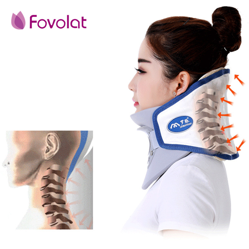Health care neck cervical traction device inflatable collar household equipment health care massage device nursing care usb heating new neck cervical traction device collar head back shoulder neck pain headache health care massage device