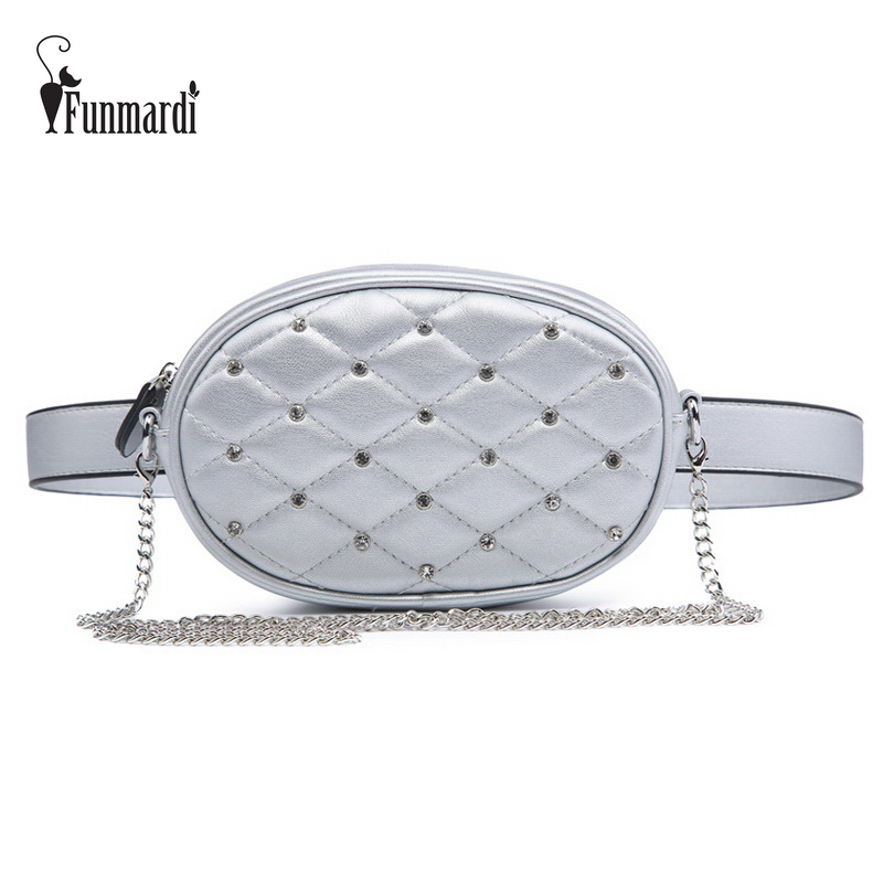FUNMARDI Diamond Design Waist Packs Silver Quilted PU Leather Shoulder Bags Velvet Black Waist Bag Fashion Women Bag WLHB1741 quilted design pu shoulder bag