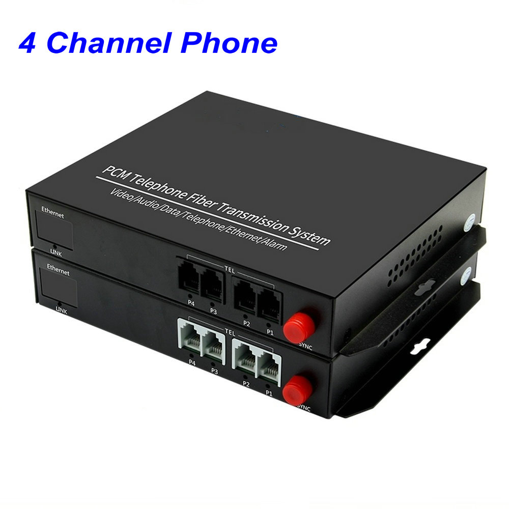 1 Pair 4 Channel- PCM Voice Tel Over Fiber Optic Multiplexer Extender,FC Optical Port,Support Caller ID And Fax Function