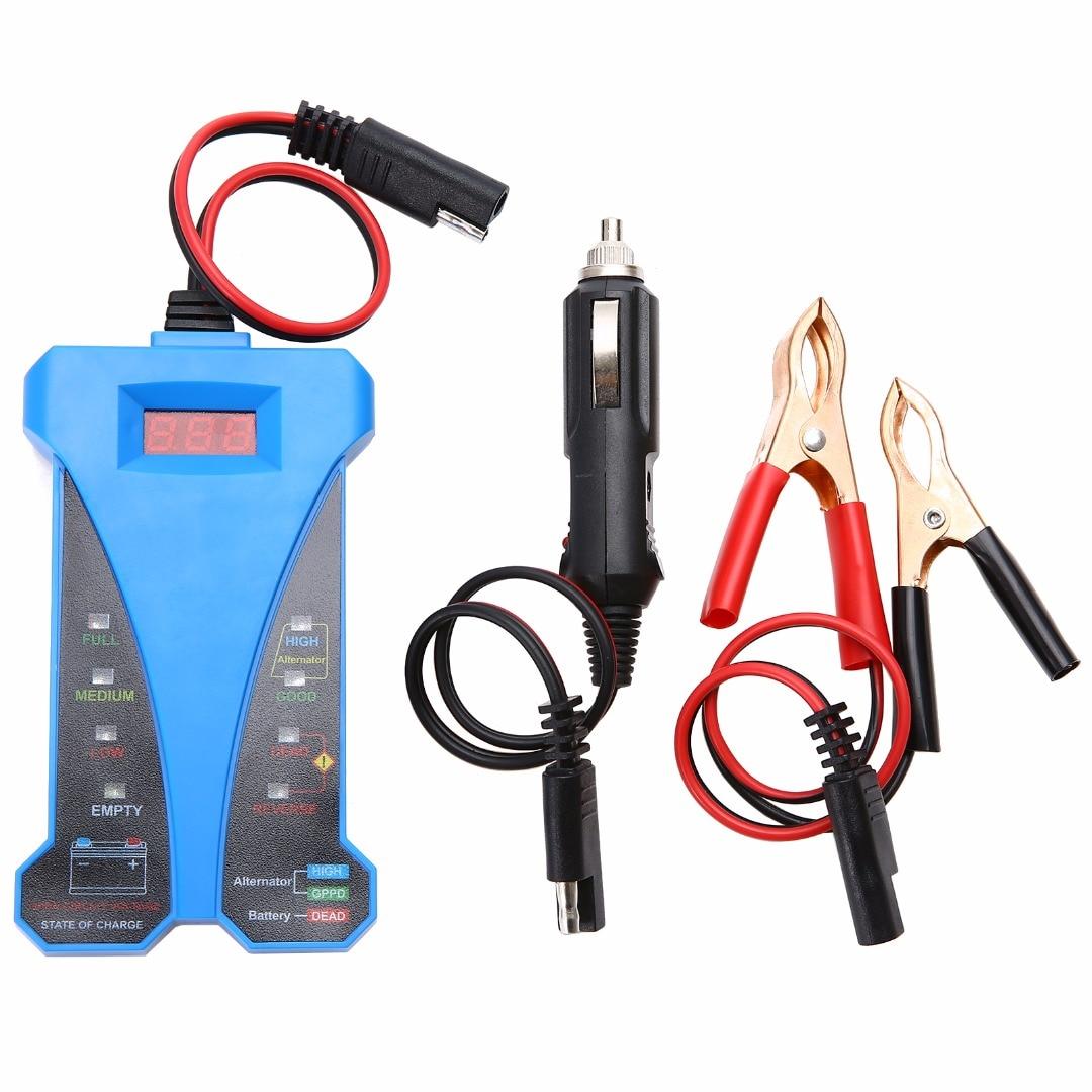 1set Durable Blue 12V Smart Digital Battery Tester Voltmeter Alternator Analyzer Car Vehicle