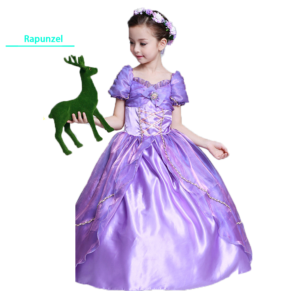 Girls Rapunzel Fancy Dress Costume Kid Princess Outfit Cosplay Dress For Girl Tangled Princess Dress Purple Tulle Dress 3pcs girls maid lolita alice in wonderland costume cosplay fancy dress outfits
