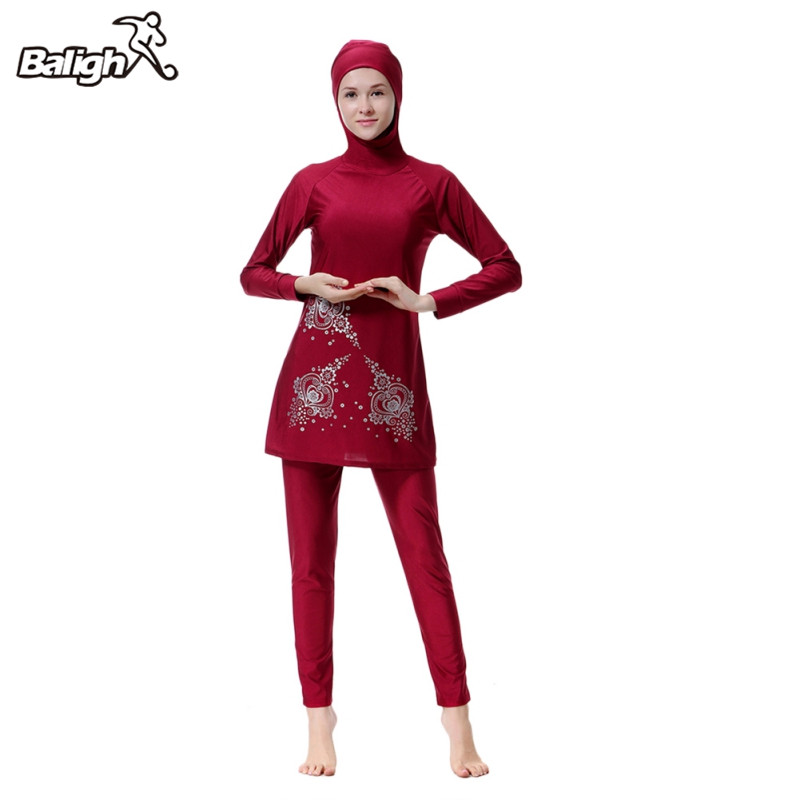 все цены на Balight Modest Muslim Swimwear Hajib Islamic Swimsuit For Women Full Cover Conservative Burkinis Swim Wear Plus Size