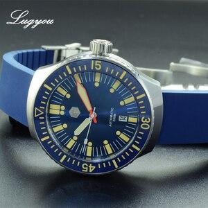 Image 3 - Lugyou San Martin Do Vintage Homens Relógio de Mergulho Mecânico Automático 20 ATM Bisel Rotativo Sunray Blue Rubber Strap Sapphire SLN C3