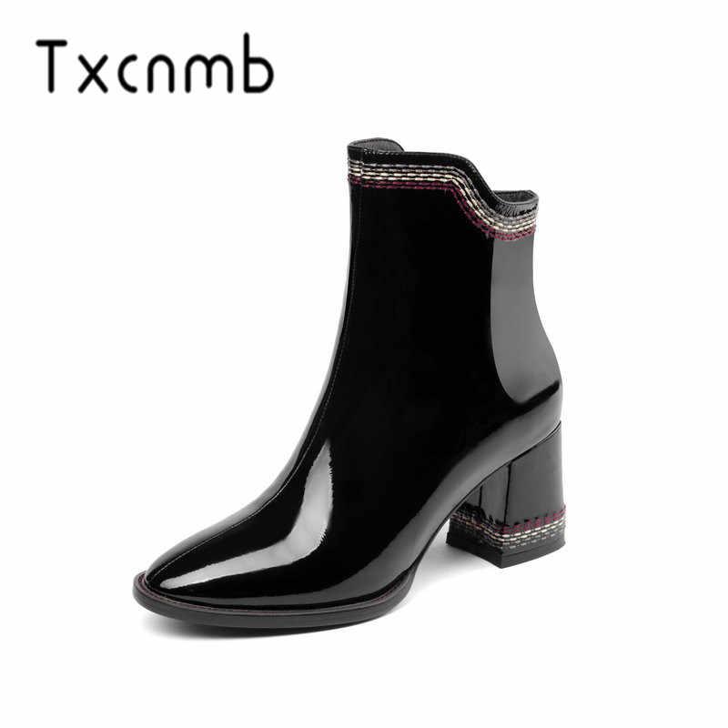 TXCNMB 2019 Giày Nữ Mắt Cá Chân Giày cho Nữ Mùa Đông Chính Hãng Da Cao Gót Giày Người Phụ Nữ Kích Thước 40 41