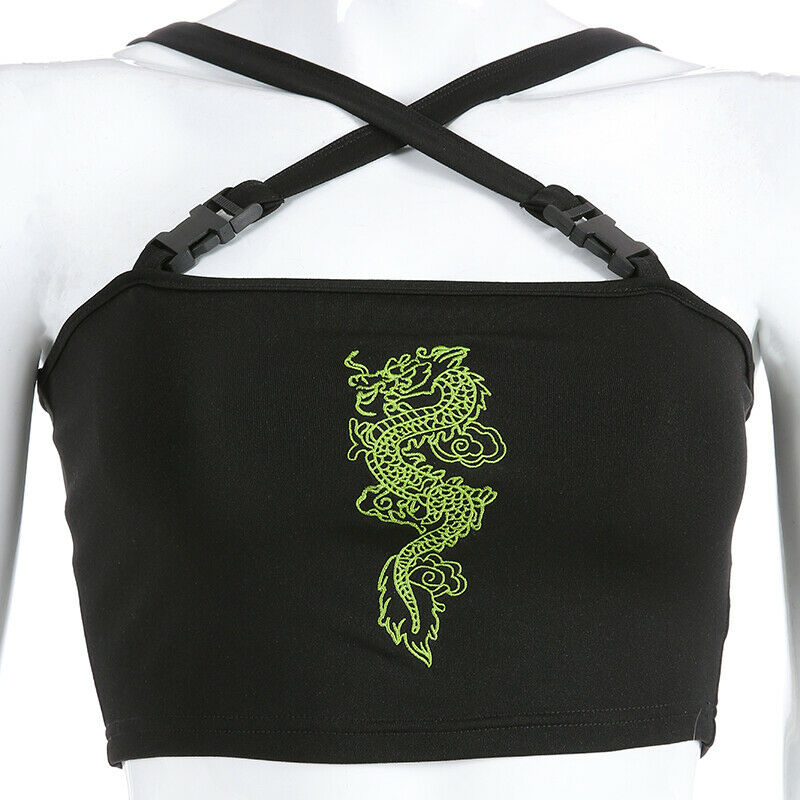 Fashion Women Sexy Hot Summer Buckle Vest Boob Tube Crop Top Bralet Sheer Dragon Embroidery Stylish