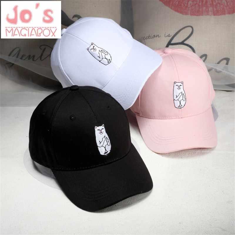 9ab717d936b 2019 Middle Finger Cat Case Baseball Caps Korea Ulzzang Harajuku Embroidery  Cartoon Hats Men Women Hip