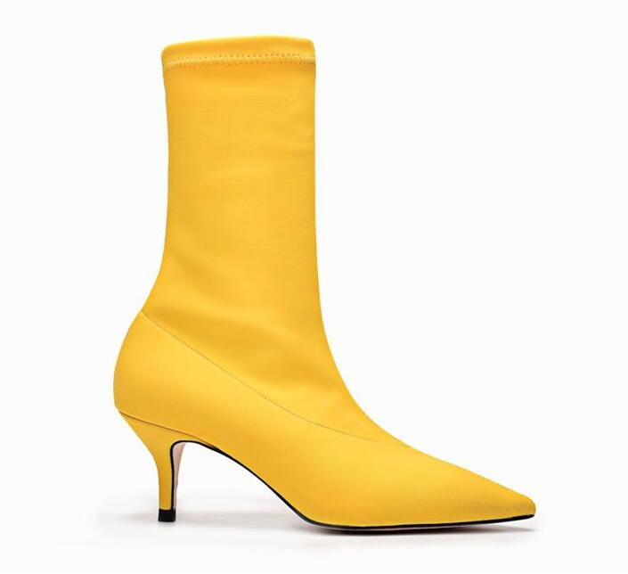 Stylesowner Lady Sexy Thin Heel Boots Stretch Lycra Fabric Women Pointed Toe Slip On Boots Red Wedding Shoe