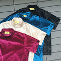 4 Cores De Veludo de Gola Alta do vintage T-shirt Das Mulheres Novas 2017 Moda Primavera Verão Ocasional De Veludo Estilo Coreano T Camisa Feminina